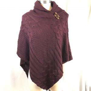 Sweater Poncho Cable Knit by Coline in Burgandy